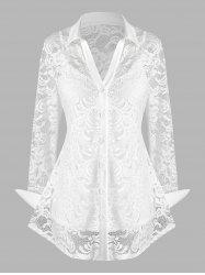 Plus Size Lace Flower Sheer Blouse with Cami Top Set -