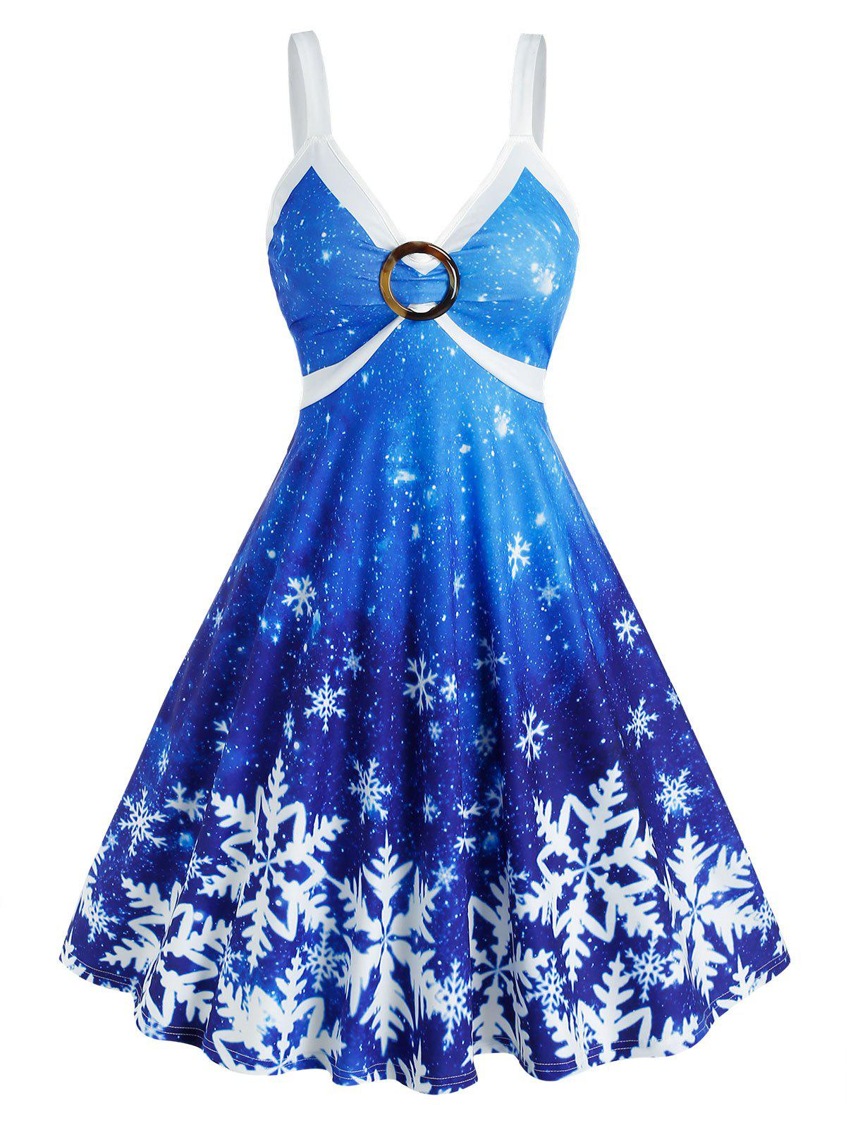 Latest Snowflake Print Ombre Color O Ring Christmas Dress