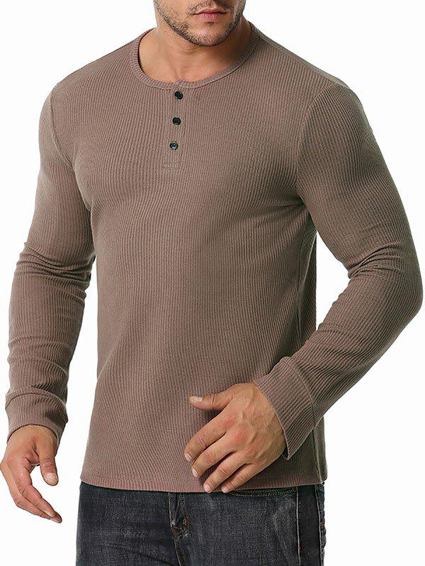 Sale Long Sleeve Ribbed Henley T-shirt