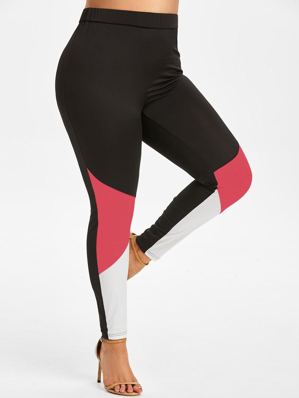 New Plus Size Colorblock Skinny Leggings
