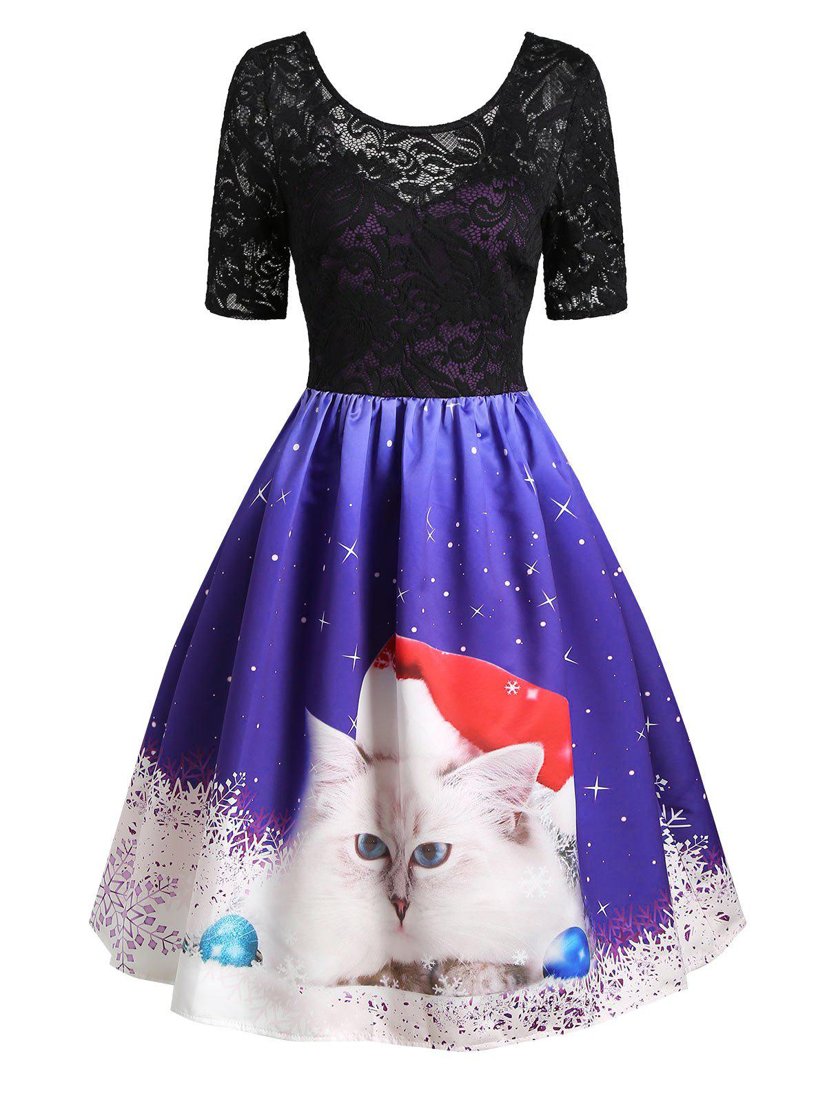 Chic Christmas Snowflake Cat Lace Insert V Back Dress