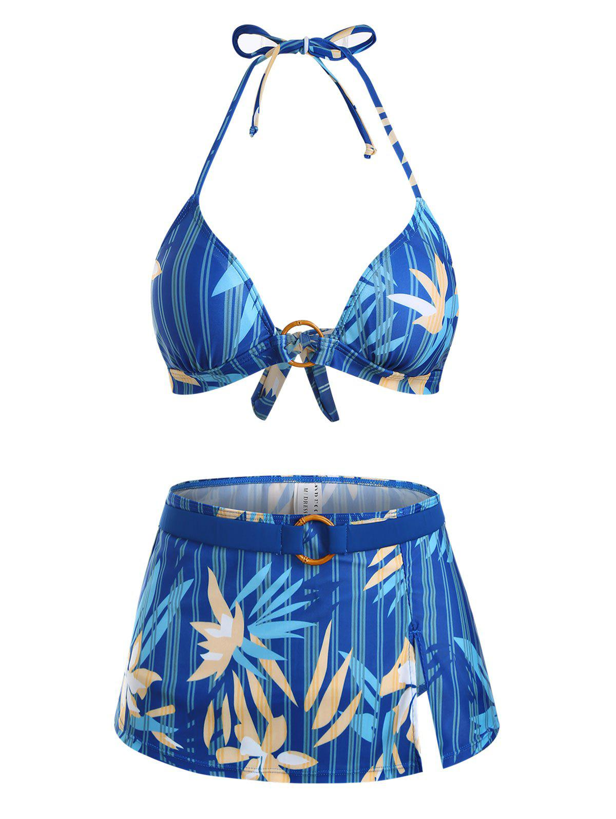 Shop Flower Striped O Ring Tie Side Three Piece Bikini Swimwear