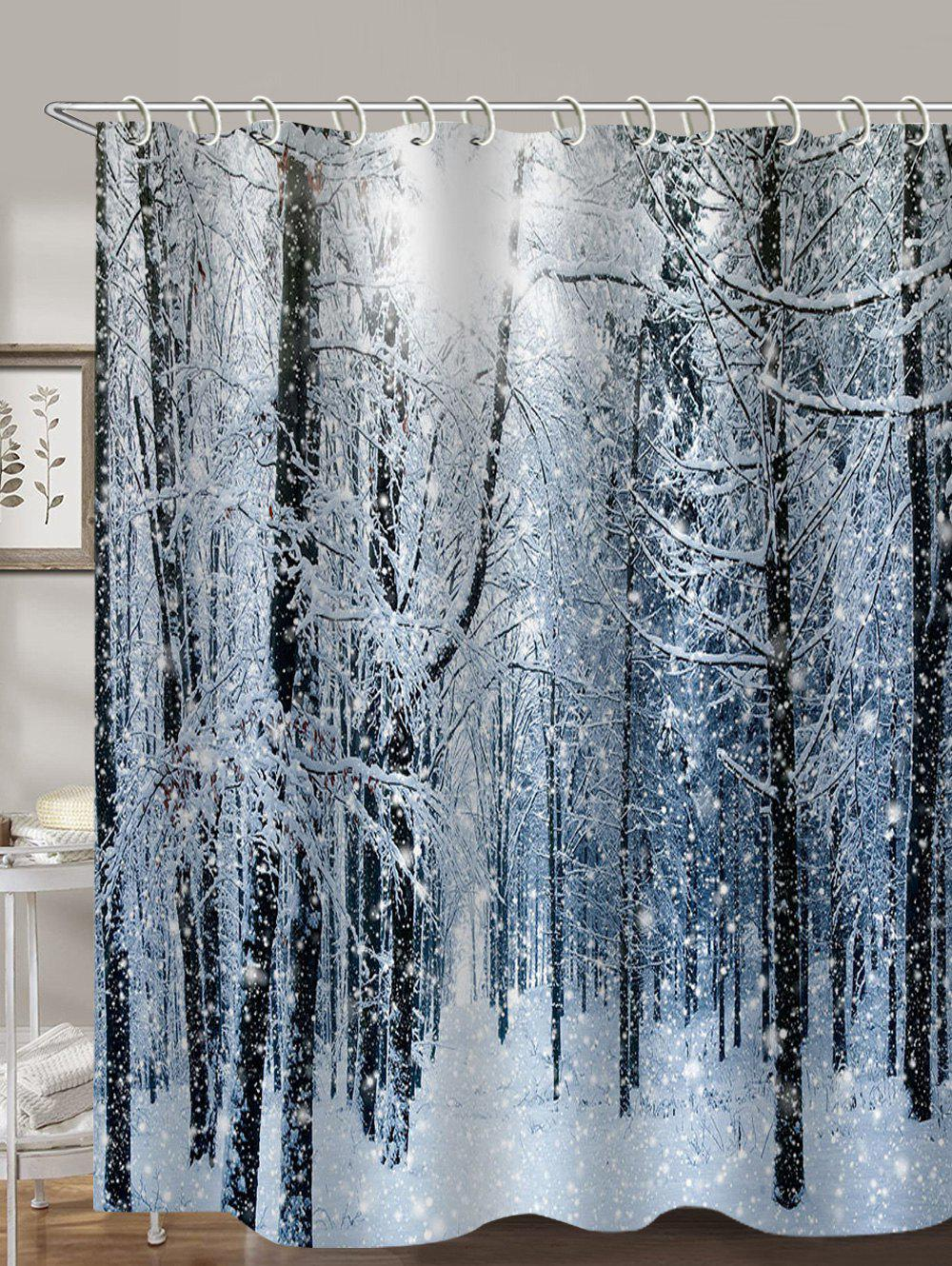 Trendy Snow Forest 3D Print Shower Curtain