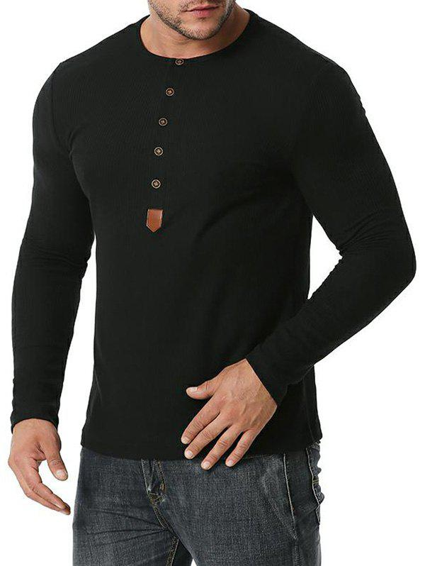Trendy Jacquard Button Round Collar Long Sleeve T-shirt