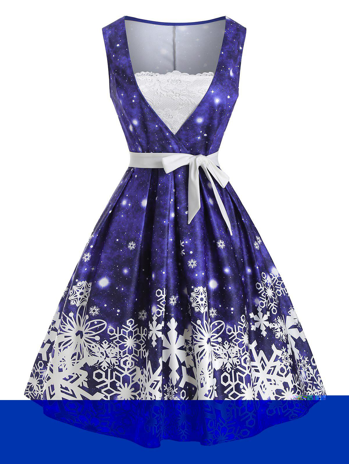 Outfit Christmas Snowflake Lace Panel Belted Dress