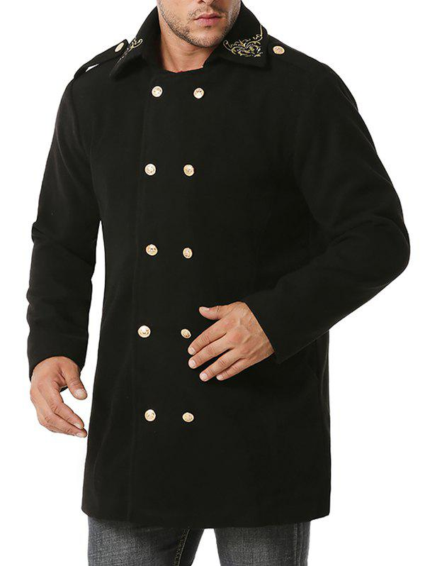 Shops Double Breasted Flower Embroidered Wool Blend Coat
