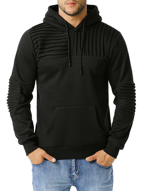 Cheap Elbow Patch Pintuck Detail Fleece Hoodie