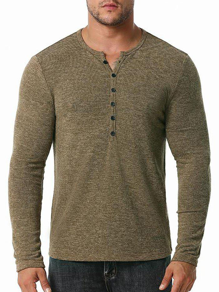 Online Button Close-fitting Base Round Collar T-shirt