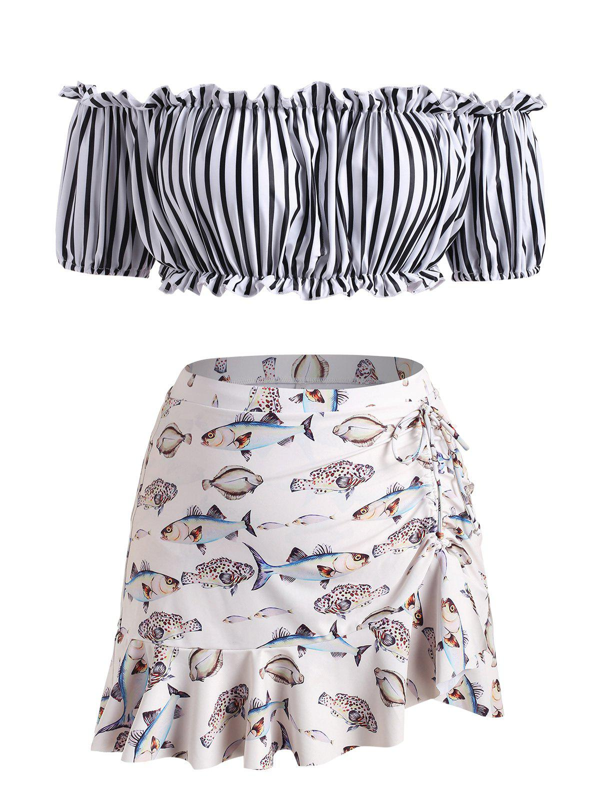 Outfits Plus Size Off Shoulder Striped Fish Print Ruched Three Piece Swimsuit