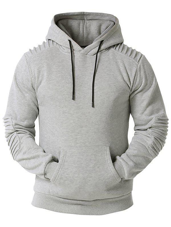 Chic Kangaroo Pocket Pintuck Detail Fleece Hoodie