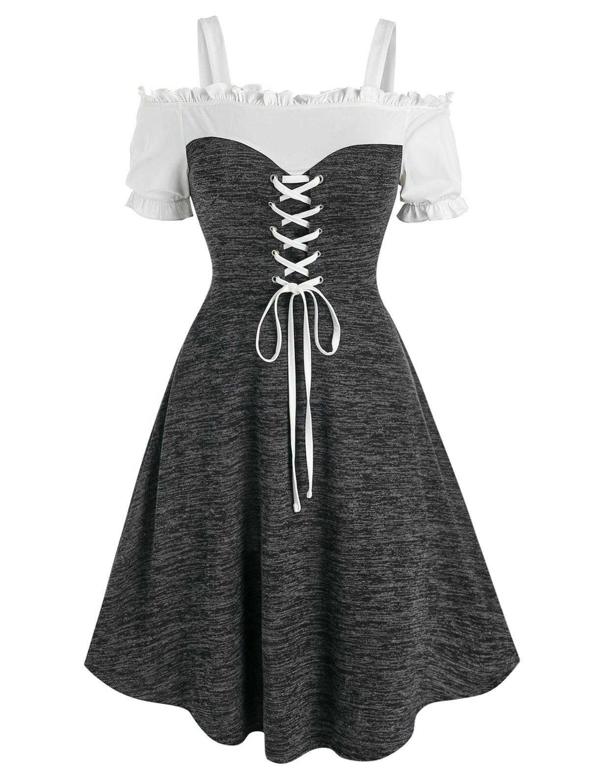 Discount Open Shoulder Lace Up Heathered Dress