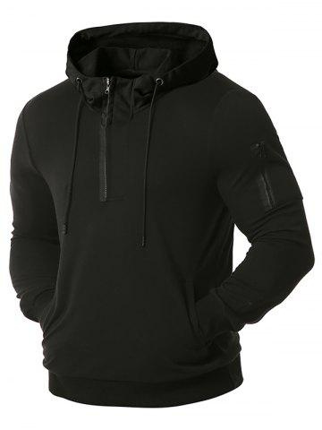 Zipper Pocket Half Zip Drawstring Hoodie