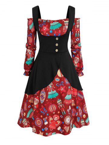 Plus Size Christmas Printed Off The Shoulder Dress and Top Set - DEEP RED - 4X