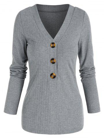 V Neck Ribbed Mock Button Sweater