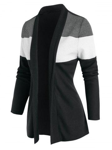 Contrast Open Front Ribbed Cardigan - BLACK - 3XL