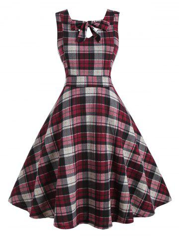Plus Size Bow Tie Plaid Midi Dress