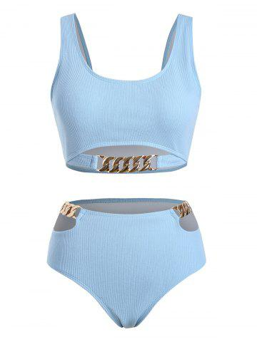 Plus Size Chain Detail Cut Out Padded Bikini Set