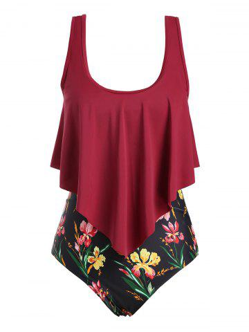Floral Strappy Overlay Flounces Plus Size One-piece Swimsuit - DEEP RED - 2XL