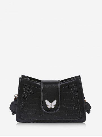 Solid Textured Butterfly Pattern Crossbody Bag
