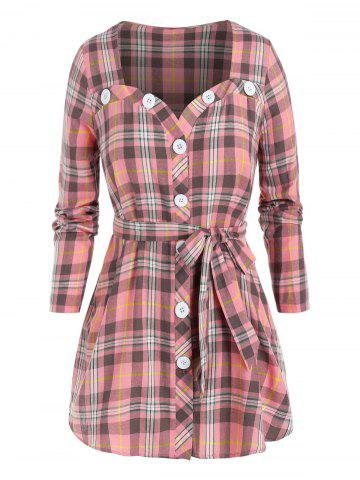 Plus Size Plaid Belted Button Up Tunic Blouse - PINK - L