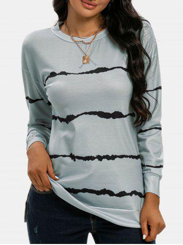 Drop Shoulder Striped Slit T Shirt - DARK GRAY - M