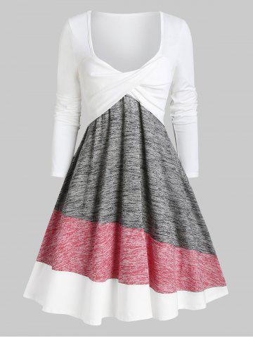 Colorblock Twisted Plunging Tee Dress
