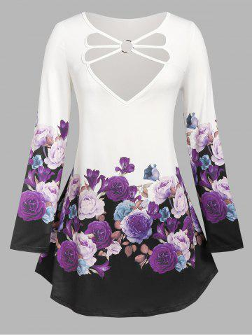 Plus Size Floral Print O Ring Strappy T Shirt