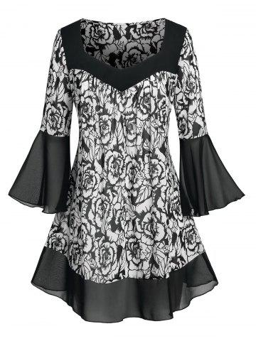 Plus Size Flower Pattern Flare Sleeve Chiffon Sheer Blouse - BLACK - 3X