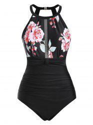 Mesh Panel Ruched Floral Plus Size One-piece Swimsuit -