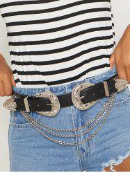 Layered Chains Double Buckle Western Belt -