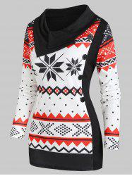 Christmas Knitted Snowflake Turn Down Collar Top -