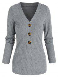 V Neck Ribbed Mock Button Sweater -