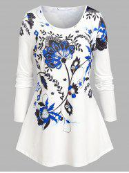 Plus Size Flower Pattern A Line Tunic Tee -