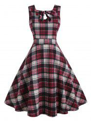 Plus Size Bow Tie Plaid Midi Dress -