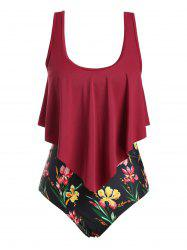 Floral Strappy Overlay Flounces Plus Size One-piece Swimsuit -