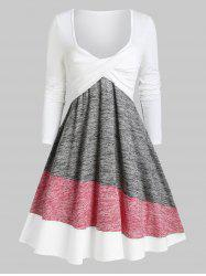 Colorblock Twisted Plunging Tee Dress -