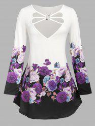 Plus Size Floral Print O Ring Strappy T Shirt -
