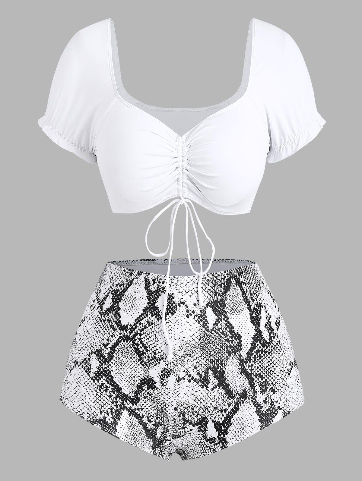 Outfit High Waisted Cinched Front Snake Print Plus Size Bikini Swimwear
