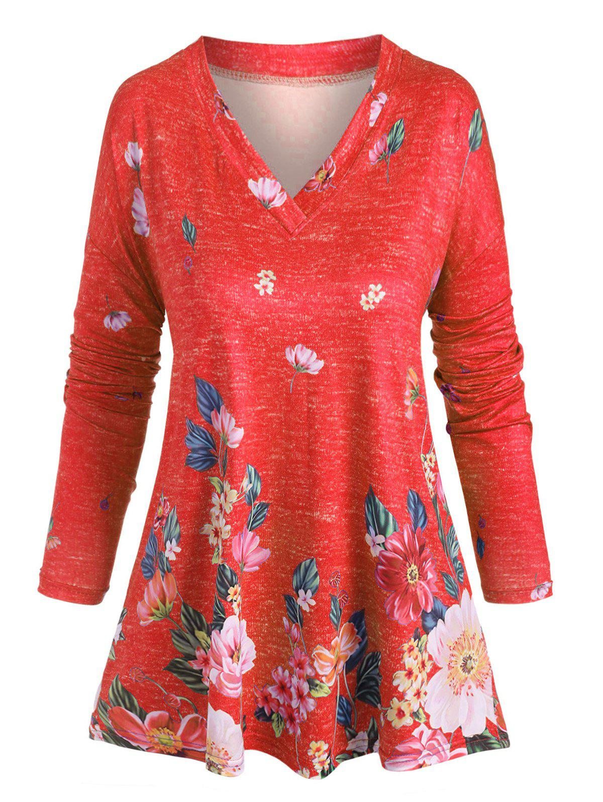 Hot Plus Size V Neck Floral Print T Shirt