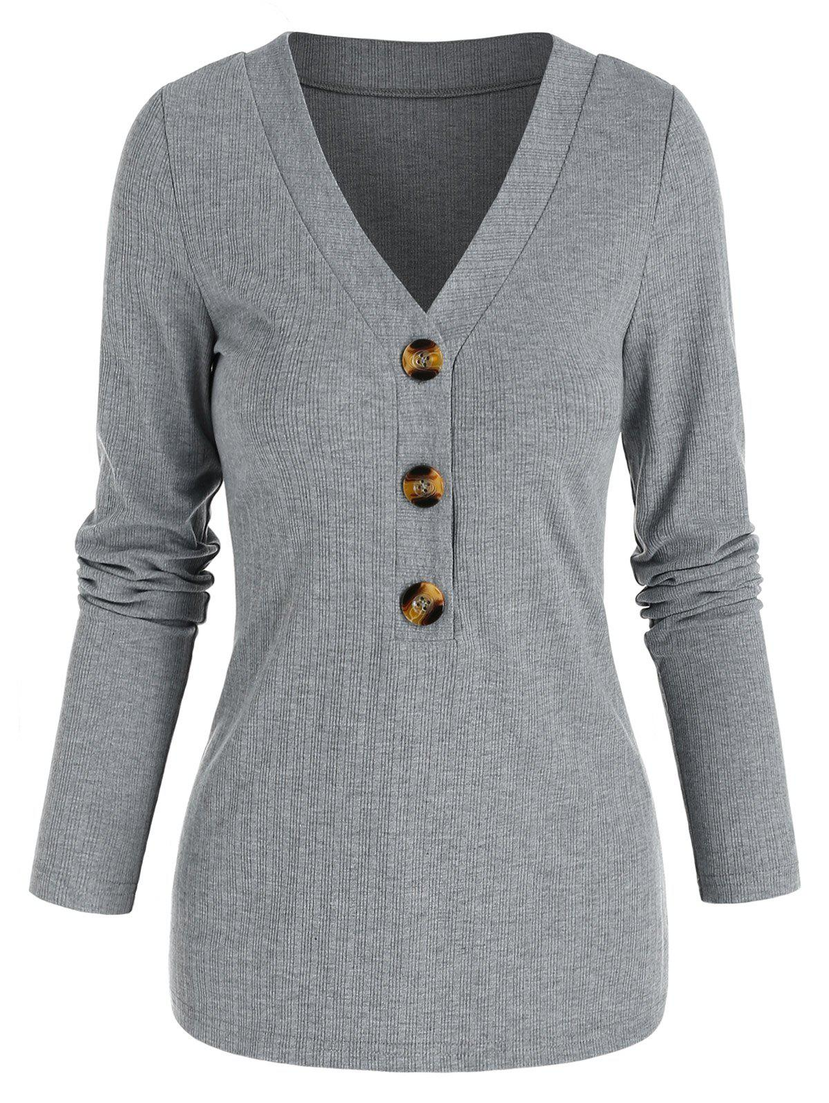 Online V Neck Ribbed Mock Button Sweater