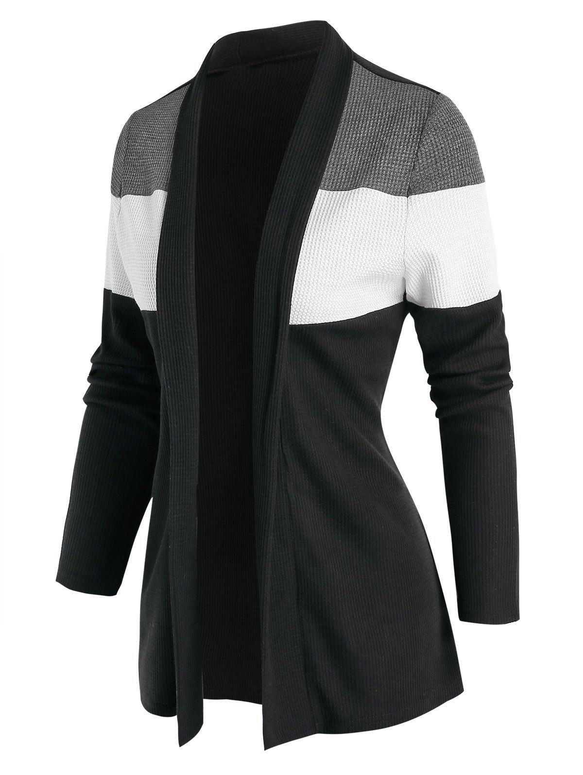 Discount Contrast Open Front Ribbed Cardigan