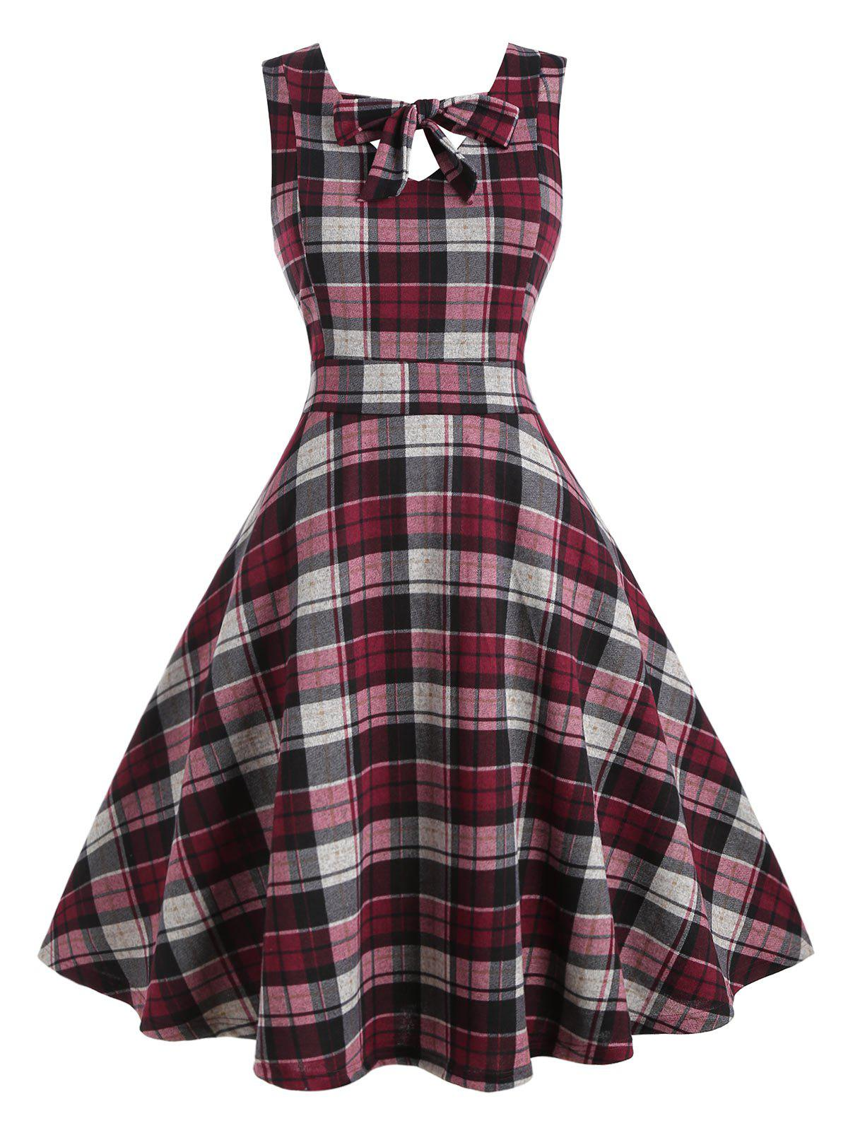 Online Plus Size Bow Tie Plaid Midi Dress