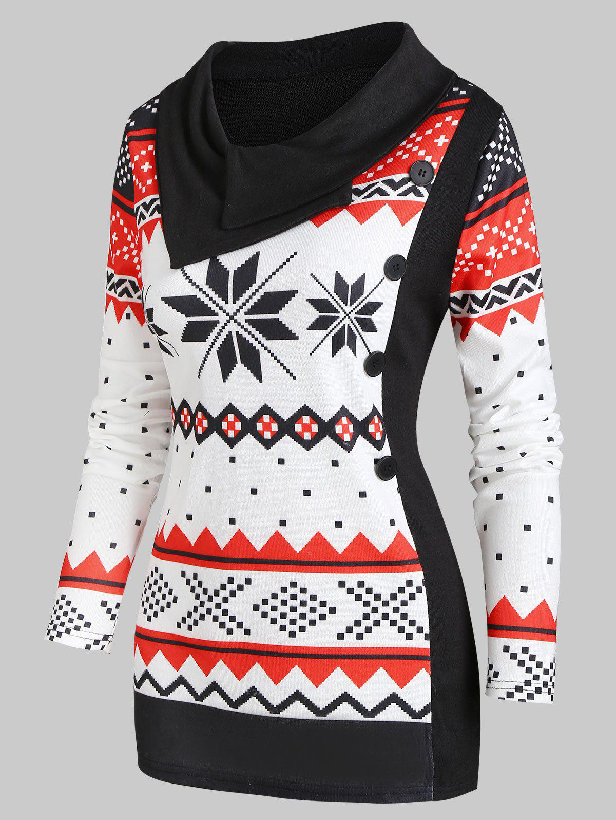 Christmas Knitted Snowflake Turn Down Collar Top