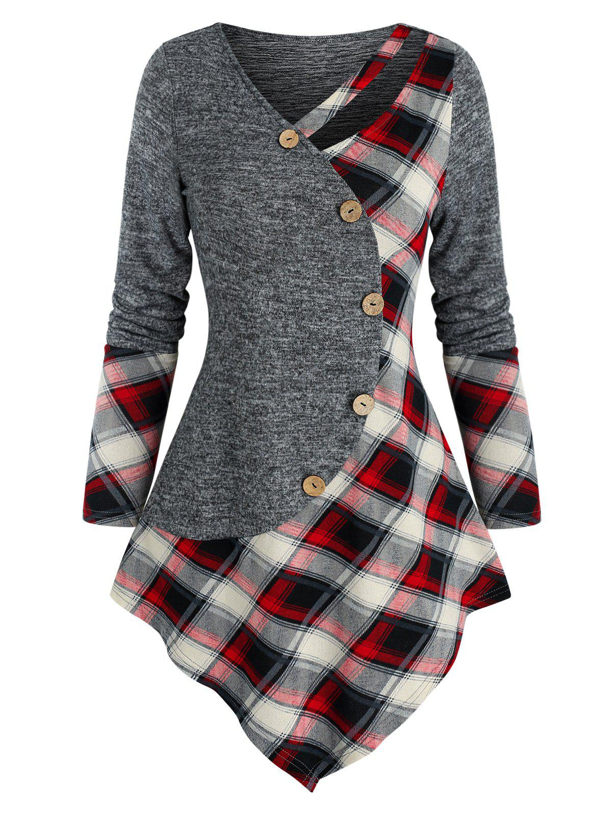 Hot Mock Button Plaid Pattern Pointed Hem Sweater