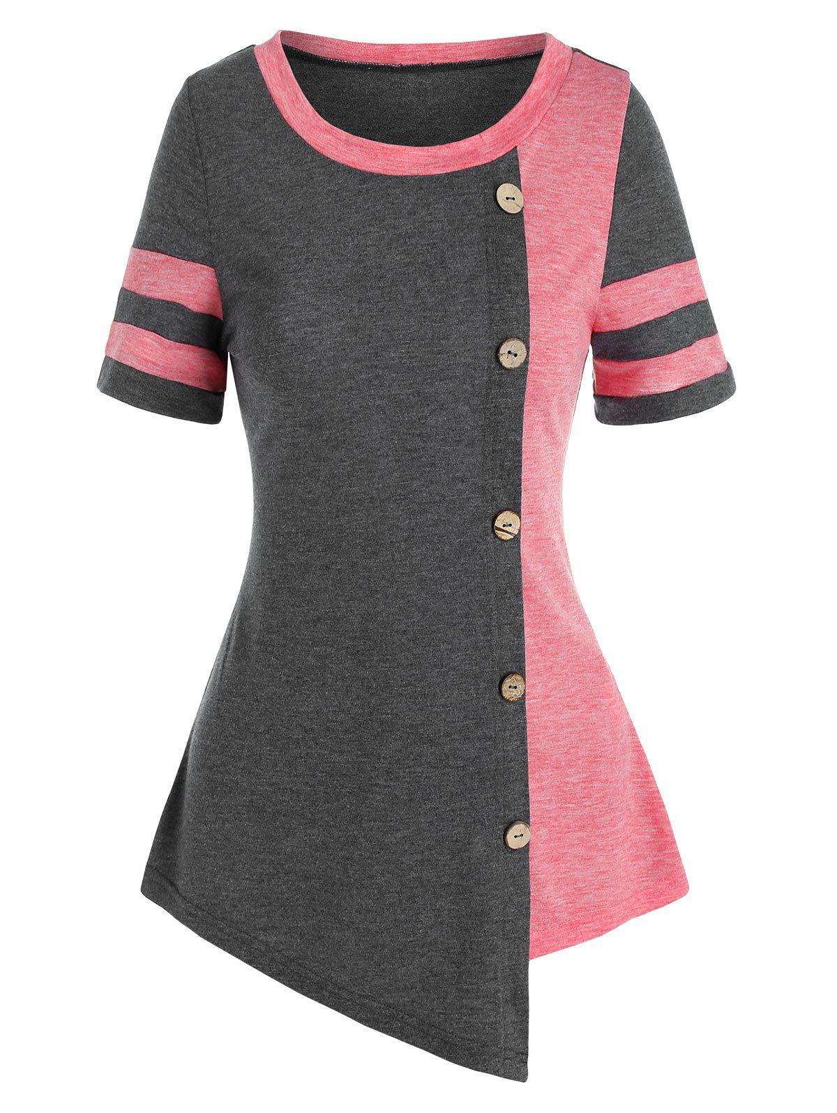 Affordable Two Tone Buttons Asymmetric T Shirt