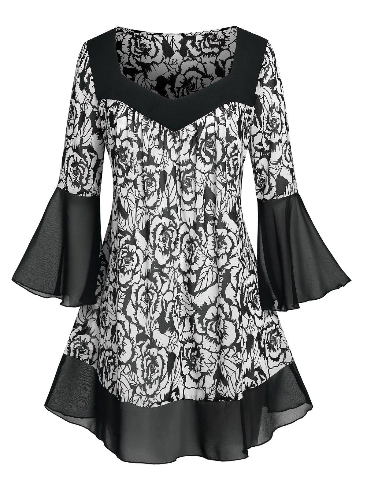 Affordable Plus Size Flower Pattern Flare Sleeve Chiffon Sheer Blouse