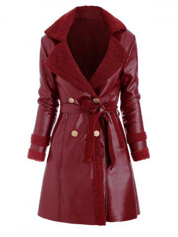 Faux Leather Shearling Insert Pocket Belted Coat - RED WINE - 2XL