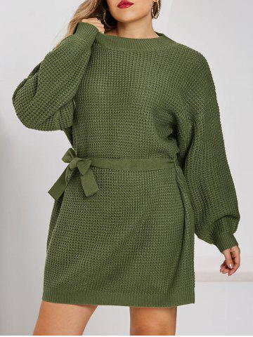 Plus Size Drop Shoulder Chunky Mini Sweater Dress - GREEN - M