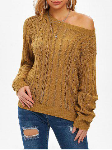 Cable Knit Open Knit Jumper Sweater - DEEP YELLOW - S