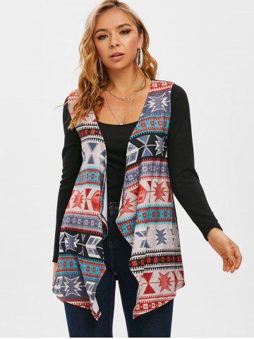 Tribal Open Front Waterfall Collar Cardigan